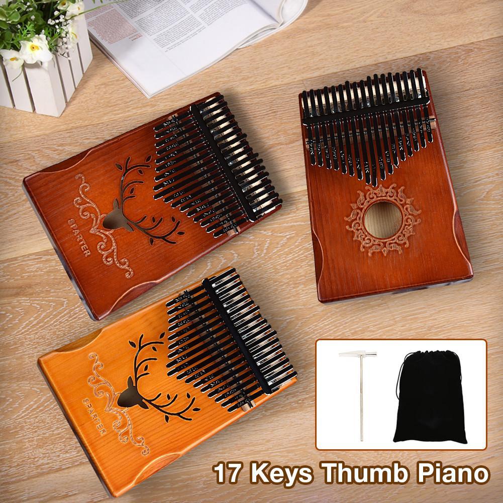Juego práctico de Piano de dedo Kalimba, de 17 tonos, con bolsa de almacenamiento, equipo Musical de entretenimiento