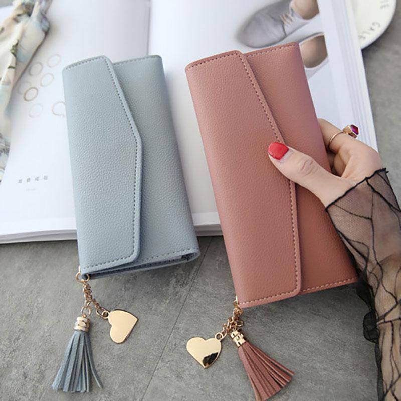 2020 Fashion Women Wallets Simple Zipper Purses Black White Gray Red Long Section Clutch Wallet Soft