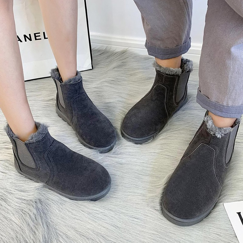 New Fashion Solid Color Women Boots Winter Snow Boots Female Casual Lightweight Ankle Botas Mujer Couple Warm Boots Size 36-44