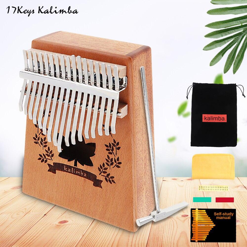 17 Key Kalimba Single Board Mahogany Lucky Grass Sound Hole Thumb Piano Mbira Mini Keyboard Instrument Thumb Piano enlarge