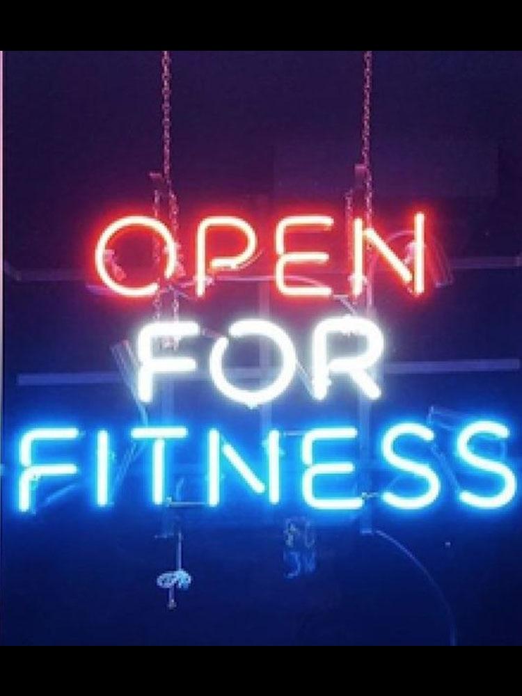 مصباح نيون مزخرف مفتوح للياقة البدنية ، ملحقات إضاءة نافذة المطعم ، مصباح نافذة البيرة ، أنبوب زجاجي مصنوع يدويًا