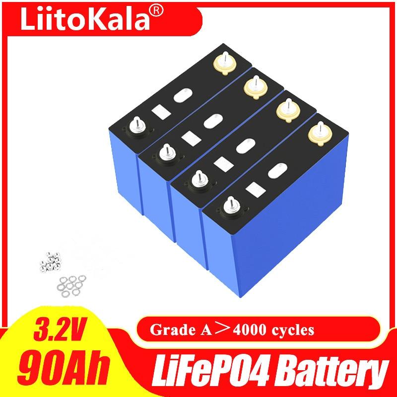 Liitokala 3.2 فولت 90Ah بطارية LiFePO4 ليثيوم فوسفا سعة كبيرة 12 فولت 24 فولت 48 فولت 90000 مللي أمبير دراجة نارية سيارة كهربائية موتور بطاريات