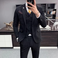 spot mens suit three piece suit autumn and winter new mens striped casual suit slim fit embroidery small suit jacket wedding