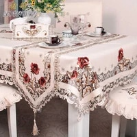 polyester fiber tablecloth anti oil lace home decoration multi size embroidered wedding hotel table cover coffee tea tablecloth