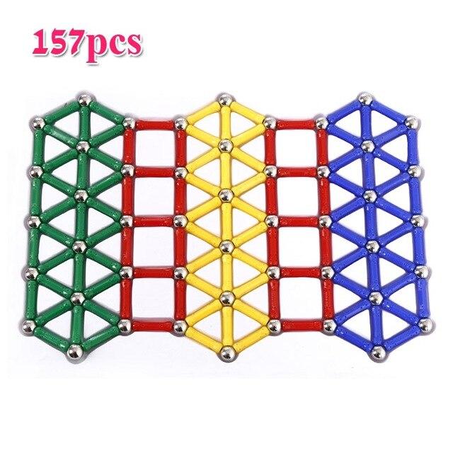157 قطعة/المجموعة قضبان المغناطيس كرات معدنية تصميم كتل صغيرة حبة عصا هندسية الشكل ألعاب البناء للأطفال الذكاء الهدايا