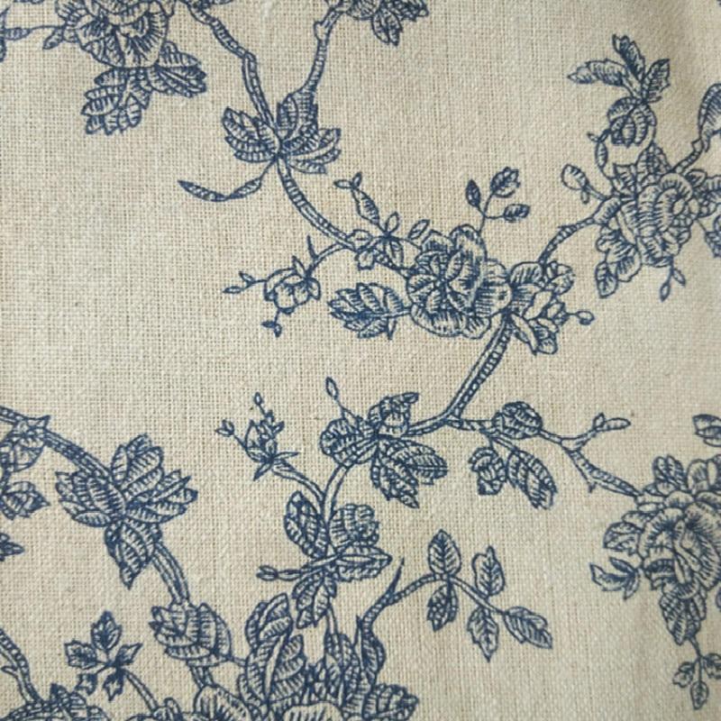 Tela de lino de impresión y teñido profesional de flores azules Vintage