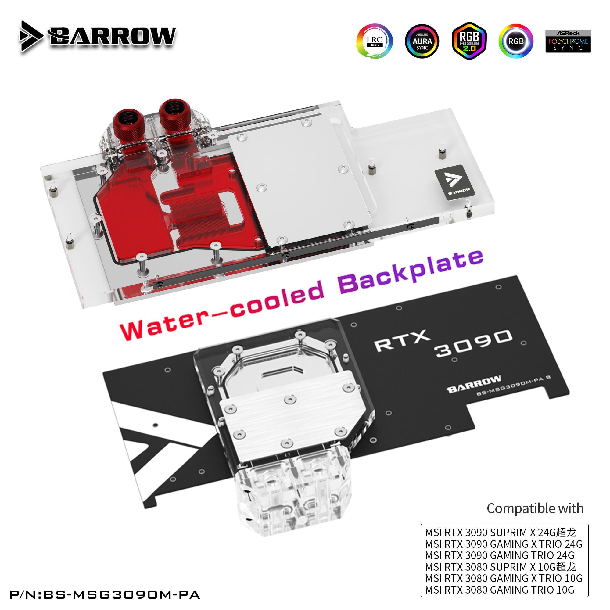بارو MSI 3080 3090 كتلة كتلة اللوحة الخلفية النشطة ل MSI RTX 3090 3080 الألعاب X الثلاثي كتلة المياه لوحة الكترونية معززة BS-MSG3090M-PA