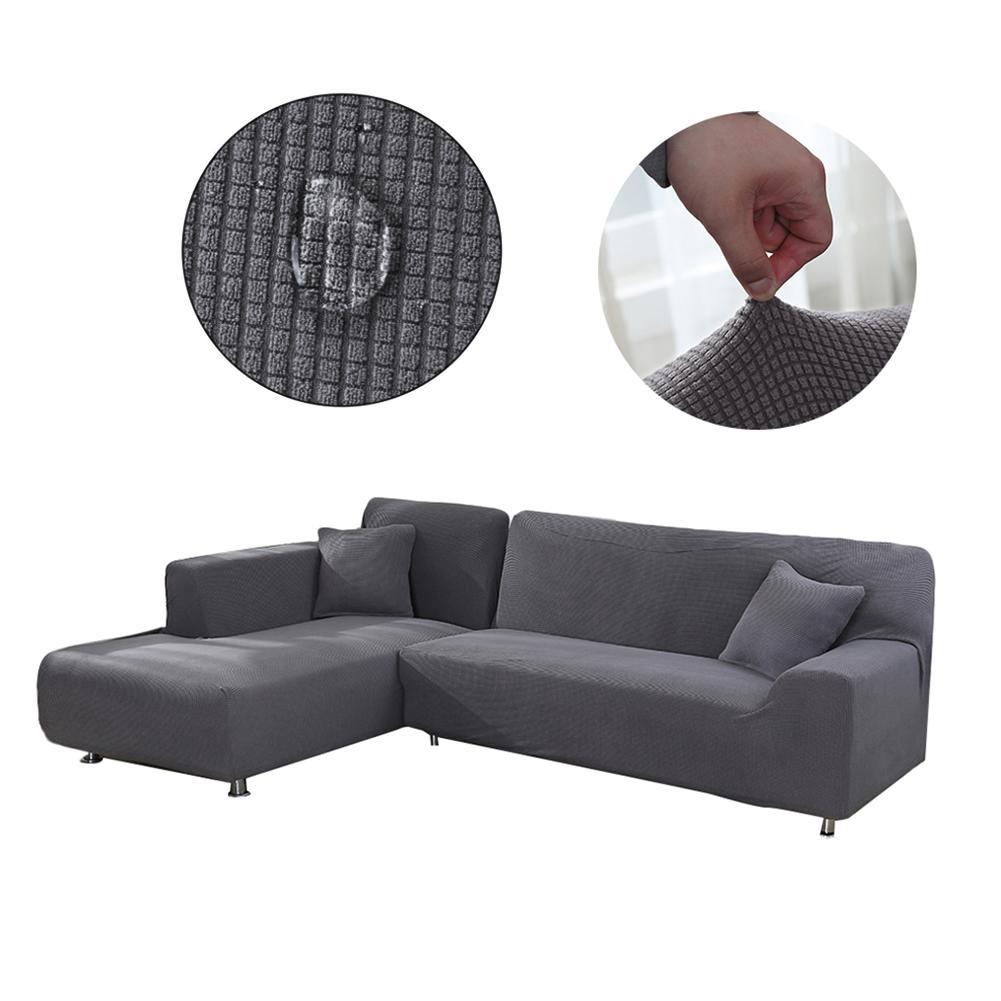 Funda para sofá en forma de L, funda para sofá modular de tela elástica de poliéster Jacquard para salón, funda impermeable para sofá