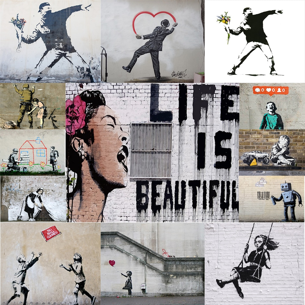 Classic Graffiti By Banksy Art Canvas Painting & Calligraphy Nordic Fashion Posters and Prints Home Decoration Wall Picture