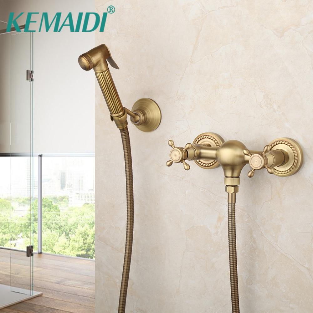Keady-صنبور مرحاض نحاسي عتيق ، مجموعة رش محمولة ، صنبور مياه ساخنة وباردة ، دش صحي