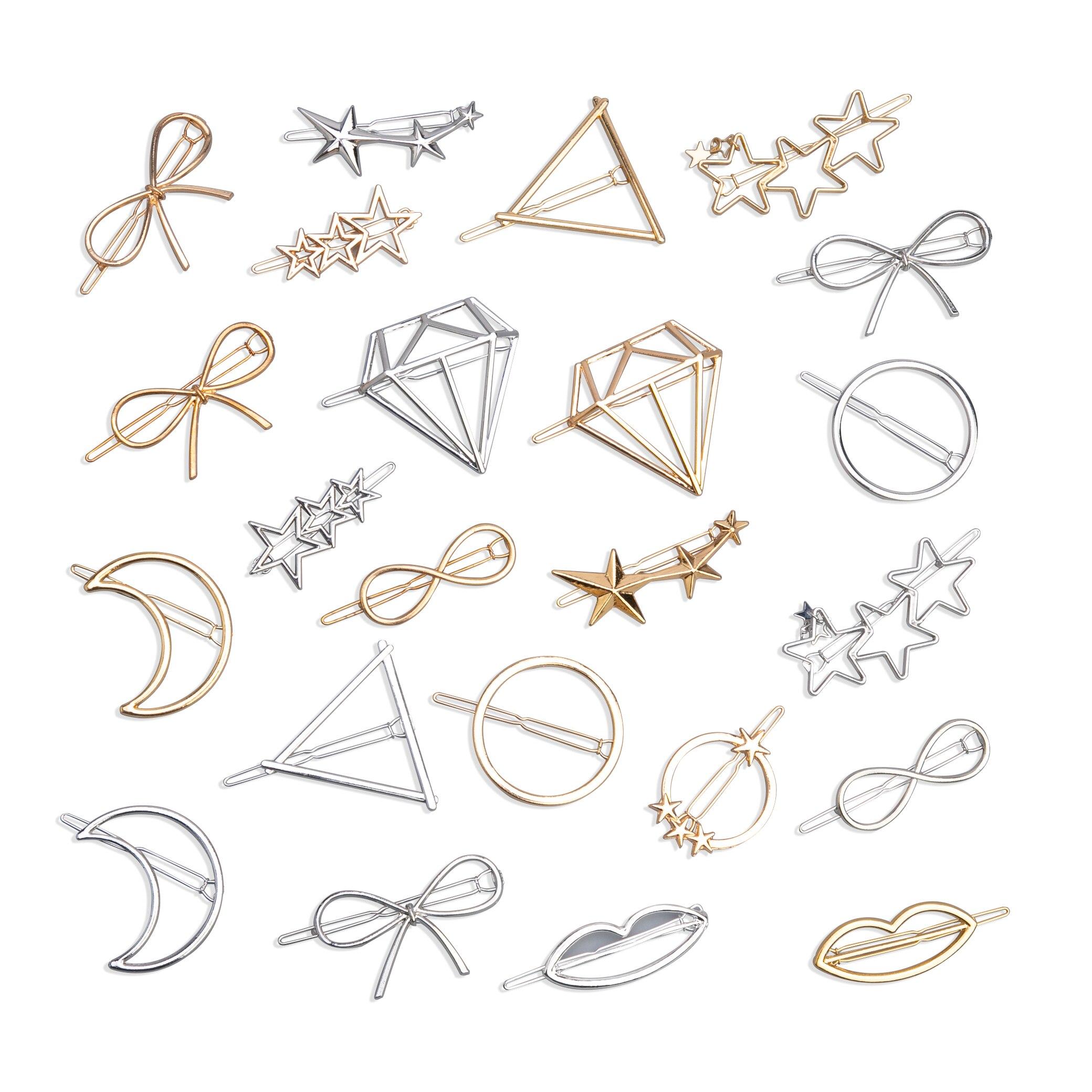 2Pcs Mode Hohl Geometrische Haar Clip für Frauen Elegante Dreieckige Mond Sterne Kreis Metall Haarspange Haarnadel Kopf Zubehör