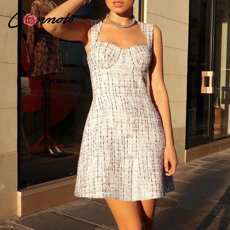 Conmoto elegante a-line vestido sin mangas de las mujeres Vintage blanco a cuadros de alta cintura Vestido corto de verano de alta moda delgado vestido sexy
