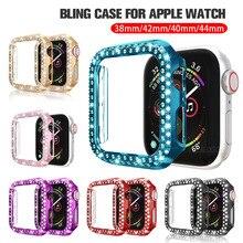 Couverture de protection de placage de diamant de Bling pour la série 1 2 3 4 5 dapple Iwatch sur I watch 38 40 42 mm 44mm accessoires de smartwatch