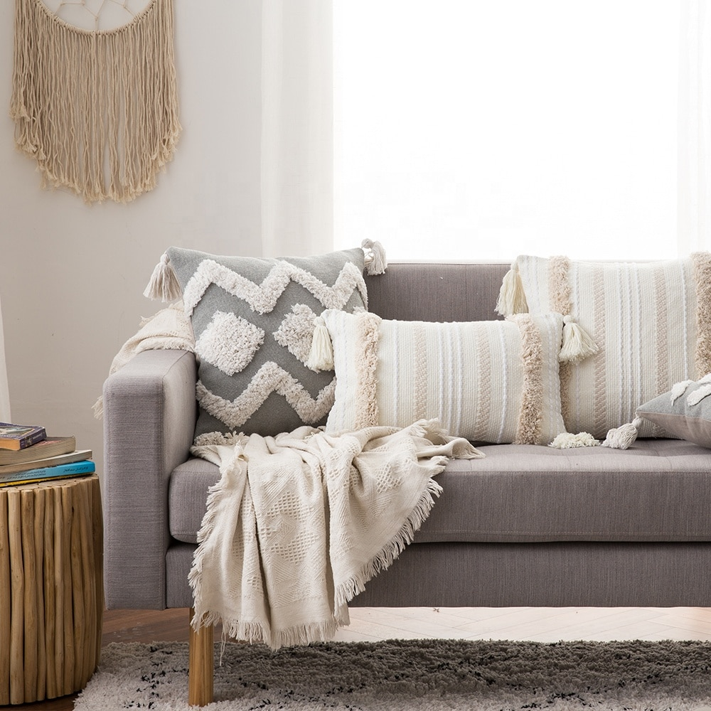 Чехол для диванной подушки, скандинавский декоративный ворсовый чехол для подушки, Роскошный чехол для подушки макраме с кисточкой для кро...