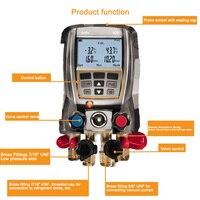 Digital Manifold Gauge Kit 4 Valves with 2 Clamps Testo 570-2 Refrigeration Pressure Gauge Data Storage Internal Vacuum Sensor