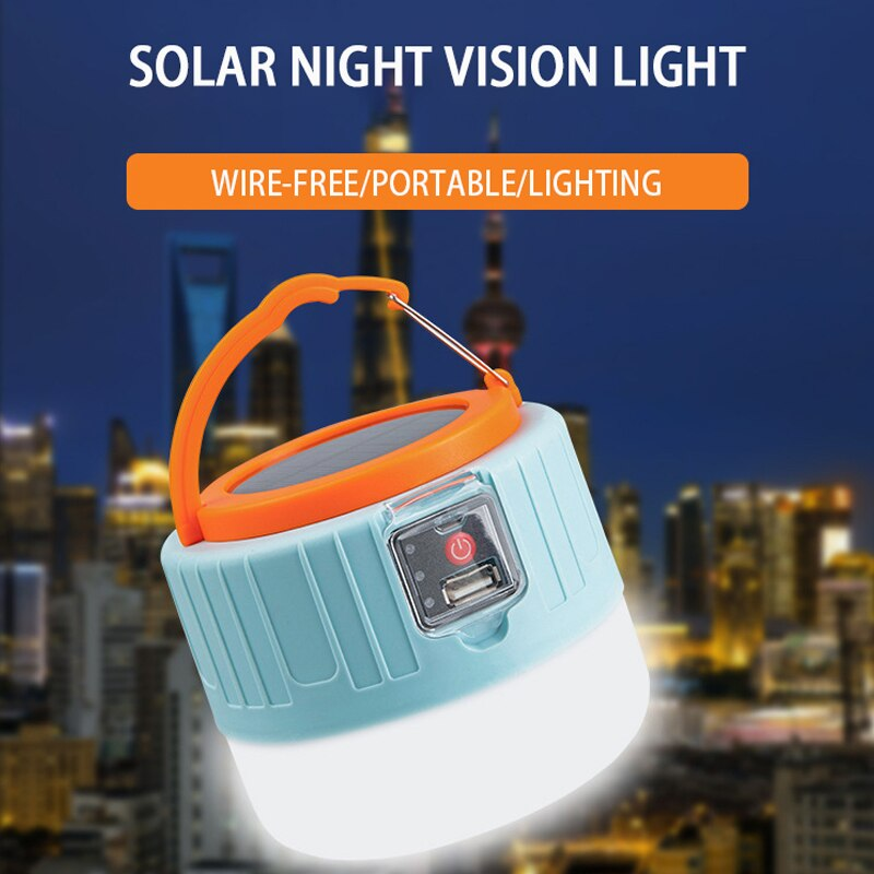 Camping Light LED Solar Charging Lamp Waterproof USB Emergency Night Lantern Portable Tent Outdoor For Hiking Fishing