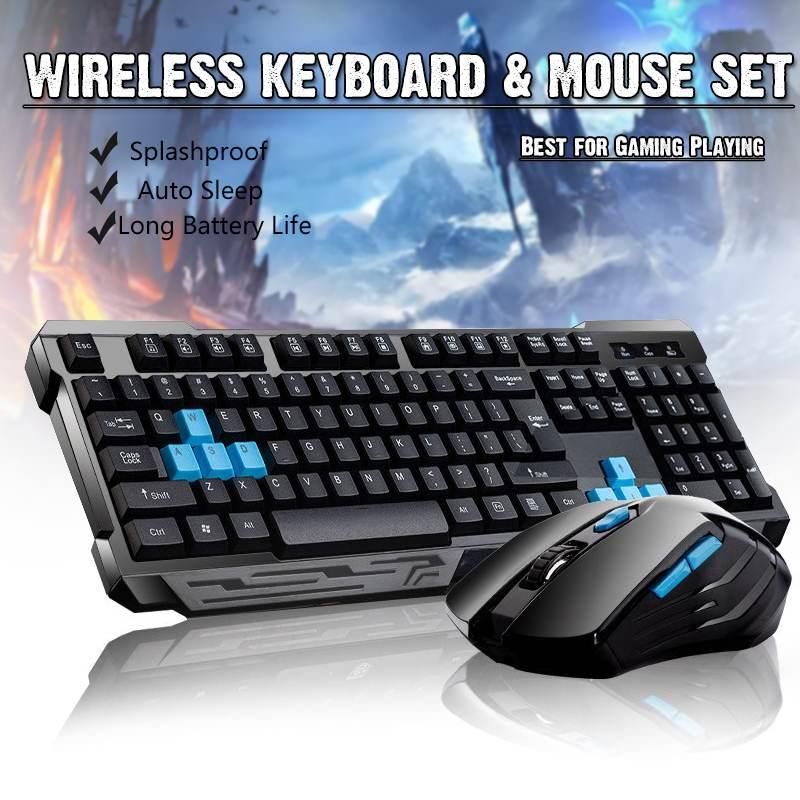 Teclado inalambrico de 2,4G para videojuegos combo de raton/sueño automatico/Anti-fantasma/DPI ajustable/Adaptador receptor...