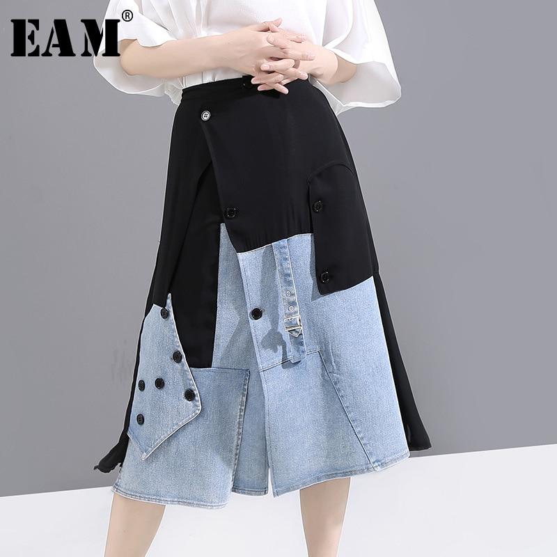 [EAM] High Elastic Waist Black Denim Split Joint Button Irregular Half-body Skirt Women Fashion New Spring Summer 2020 1U833