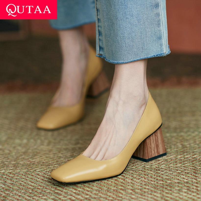 QUTAA 2021 مربع تو الانزلاق على النساء أحذية جلد طبيعي الضحلة السيدات أحذية الربيع الخريف موجزة مربع عالية الكعب Size34-39