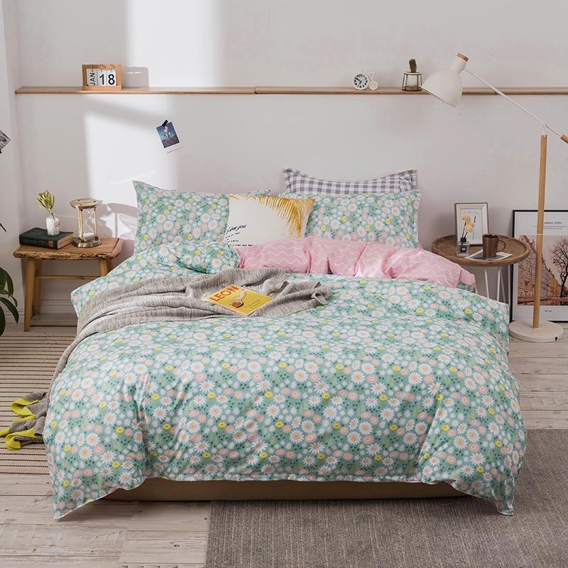 Nuevo Floral impreso ropa de cama conjunto Japón doble reina completo tamaño Duvet Cover Set Flitted hoja funda de almohada 3/4 Uds ropa de cama de la nave de la gota