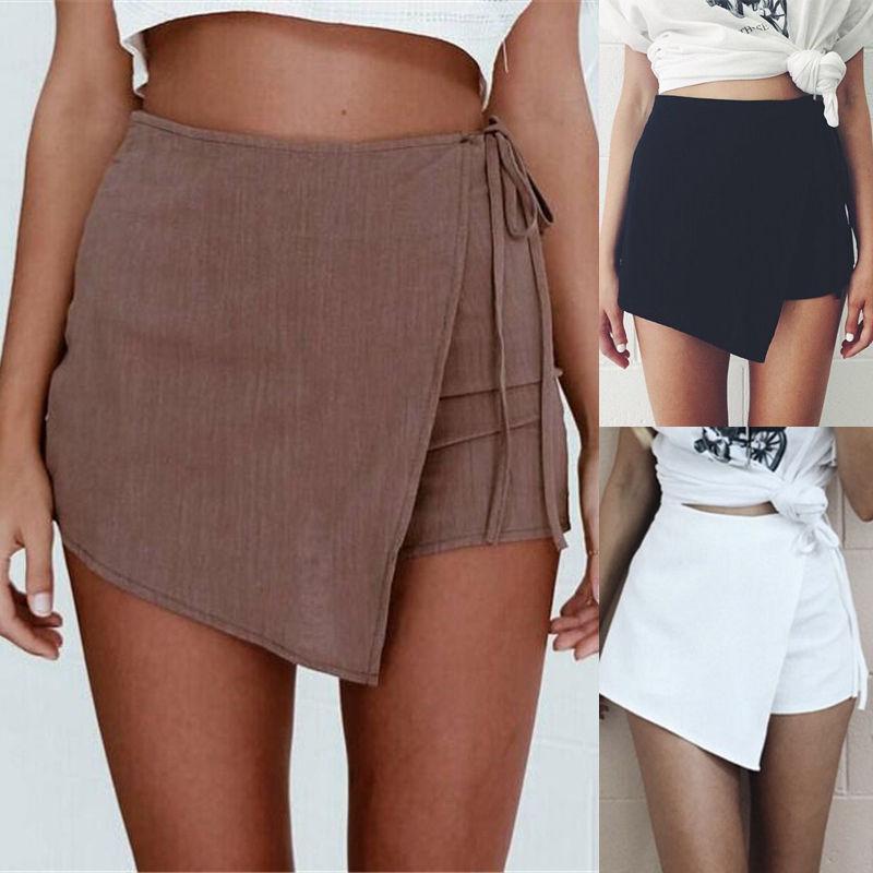 Summer New Women Shorts Slim High Waist Short  Zipper Back Irregular Sexy Fashion Loose Casual Solid Clothing