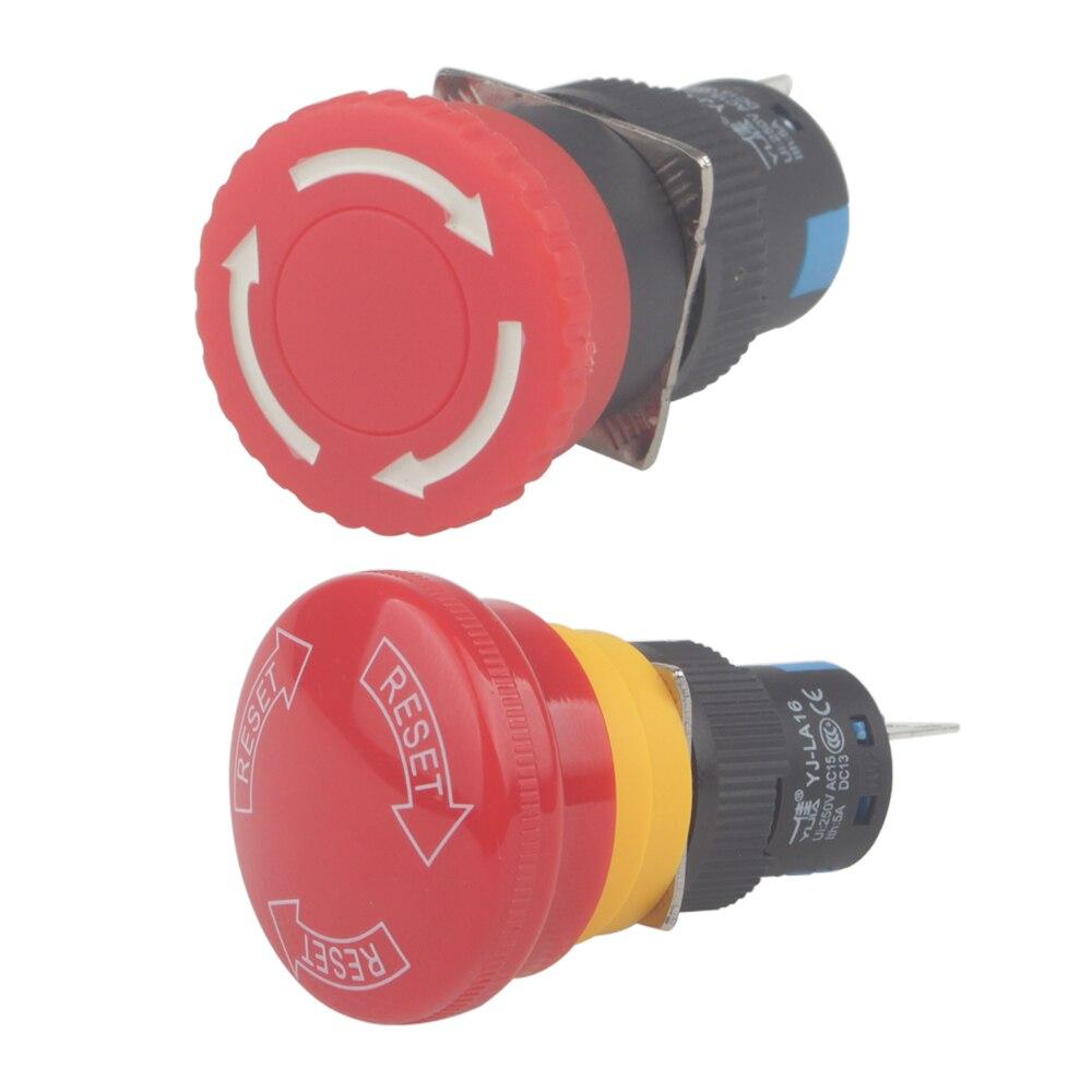 YIJIA, 16mm, orificios de montaje, bloqueo de parada de emergencia, interruptor de botón grande/pequeño cabezal YJ-LA16-11ZS-A
