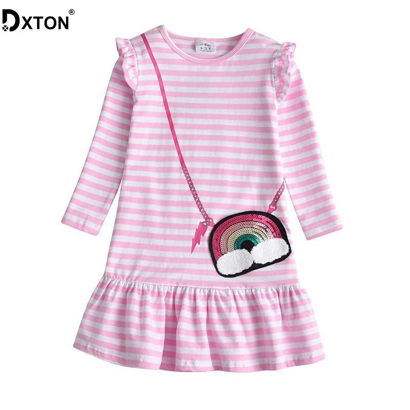 DXTON Girls Dresses 2019 Winter Long Sleeve Kids Dress for Girls Stripe Baby Costume Sequin Girls Dress Cotton Children clothing