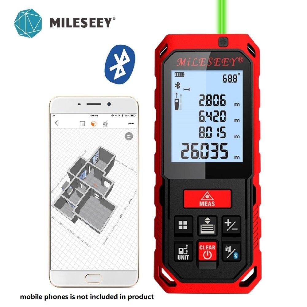 Mileseey 50M 70M 100M 120M Rechargeable Laser Rangefinder New Laser Distance Meter Laser Measure Angle  Tools Diastimeter Red
