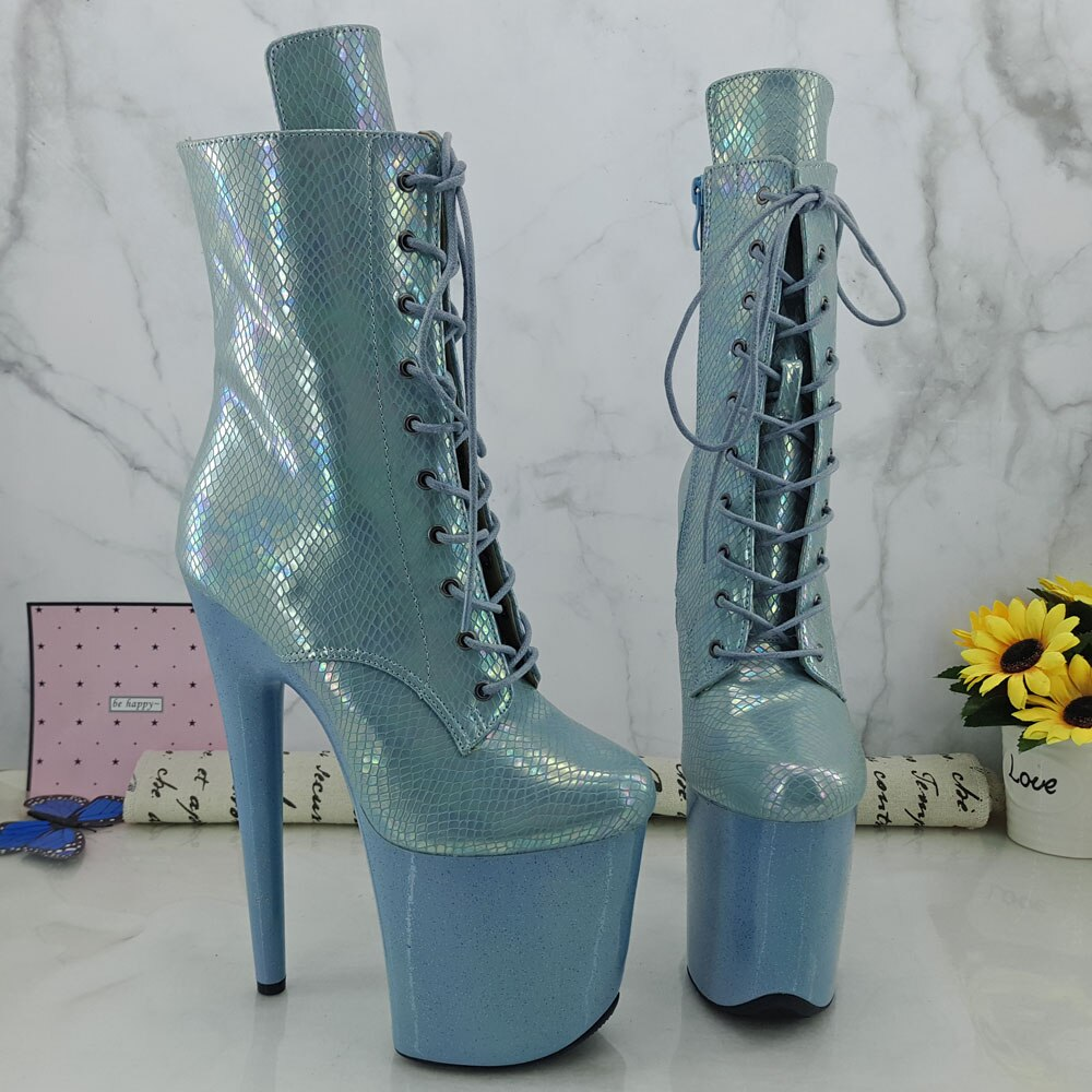 Leecabe Light Blue snake 20CM Pole dancing shoes High Heel platform Pole Dance boot