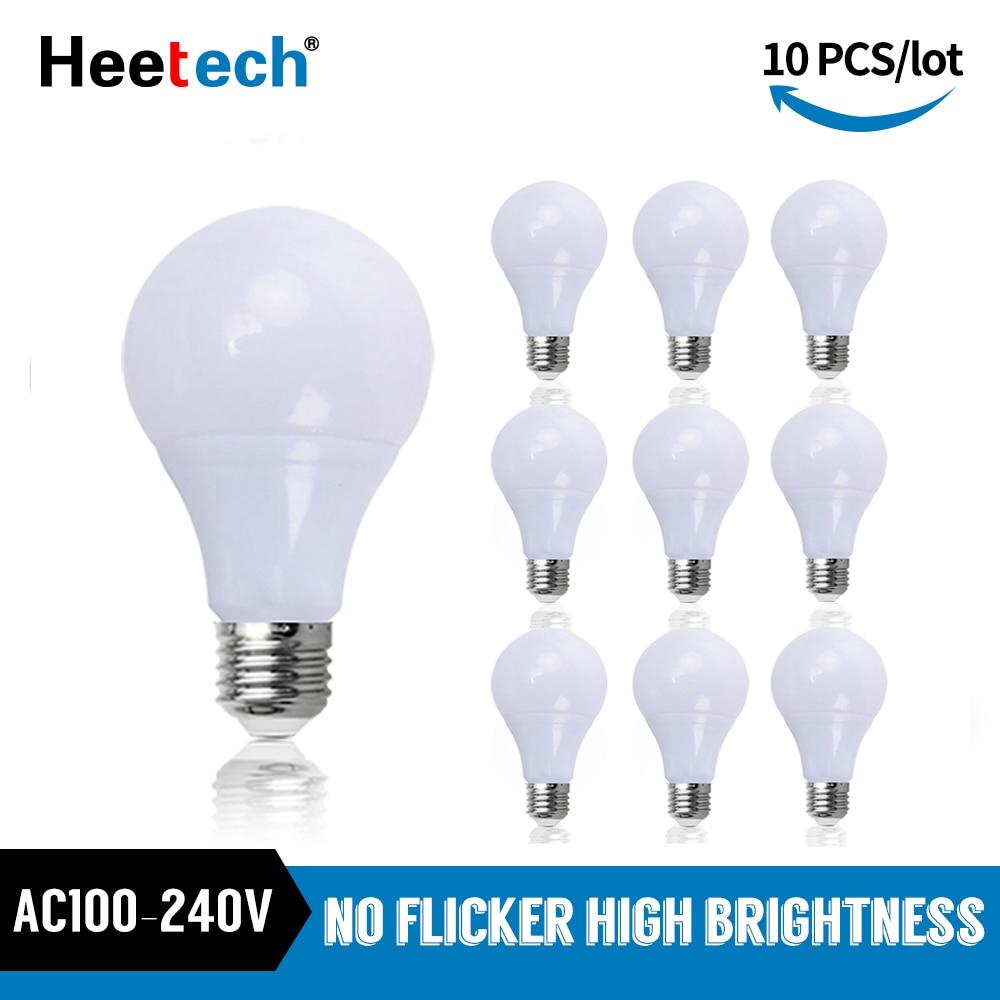 10 unids/lote E27 bombilla LED las lámparas 3W 6W 9W 12W 15W...