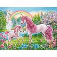 diy 5d diamond painting cross stitch new diamond embroidery pink unicorns rainbow needlework pattern rhinestone paintings