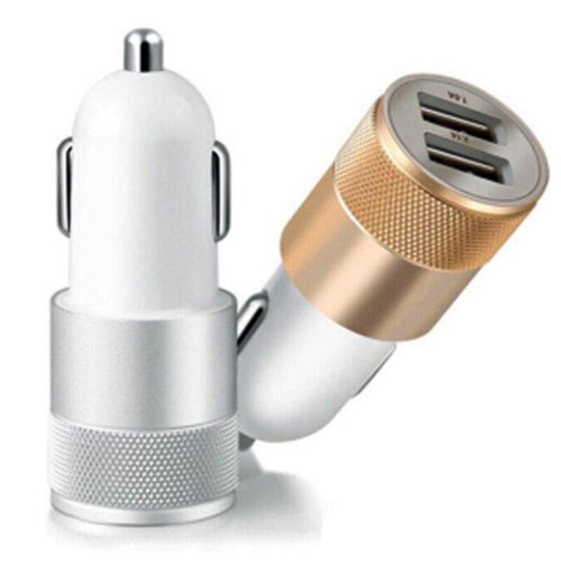 Cargador de coche cañón de acero pequeño 2,1 V carga Universal teléfono móvil plano de Metal Doble Adaptador de cargador de coche USB Universal