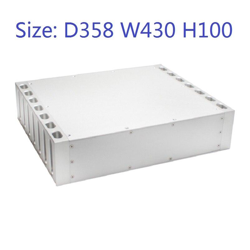 Tamaño D358 W430 H100 DAC carcasa de amplificador de aluminio chasis fuente de alimentación DIY funda CJ-149 todo aluminio lujo Clase A trasero sin agujero