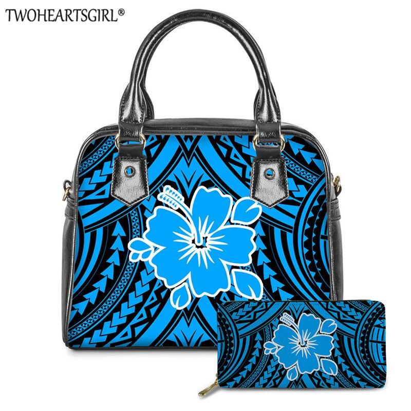 Bolsas para as Mulheres de Luxo Couro do Plutônio Bolsa do Mensageiro Twoheartsgir Tartaruga Havaiana Polinésia Impressão Azul Bolsas Ombro 2 Pçs – Set 3d