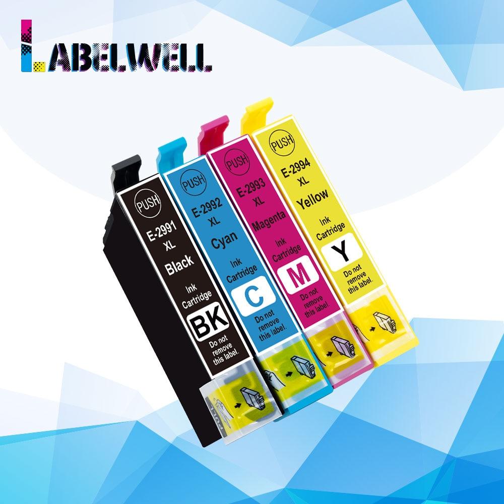 Cartucho de tinta Labelwell 29XL Compatible con Epson T2991, T2992, T2993, T2994, 29 xl, para impresora Epson XP 235, 332, 432, 247, 442 y 342