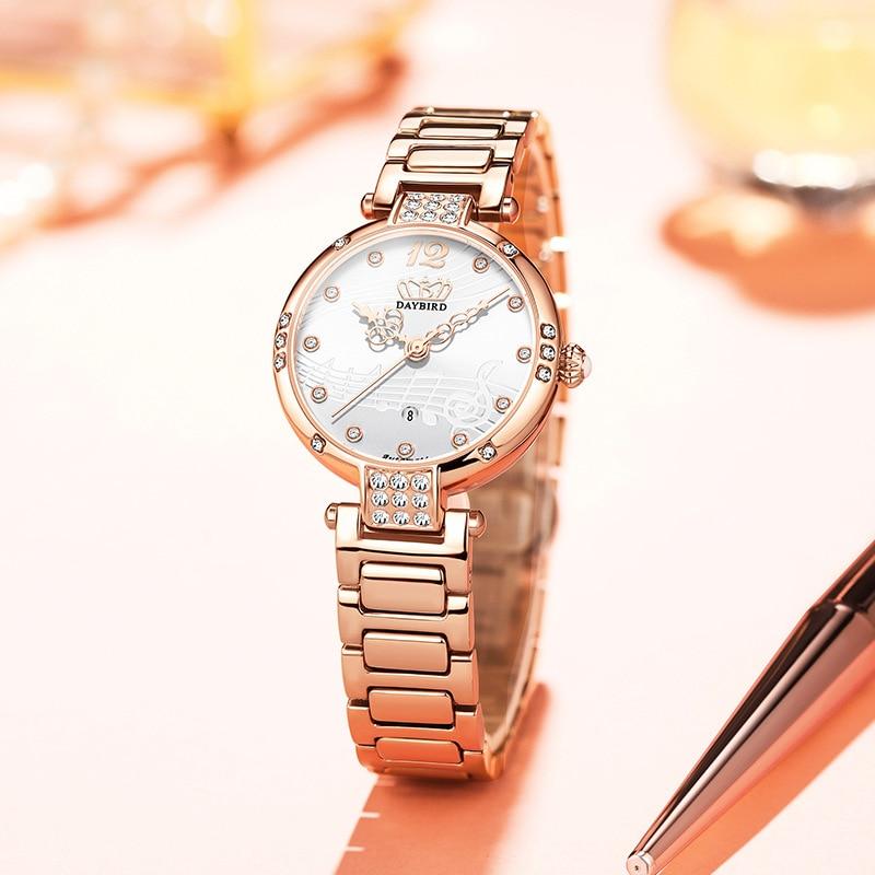 Women's Watch Stainless Steel Strap Mechanical Calendar Diamond-studded  Stainless Steel  Luxury Christmas Gift