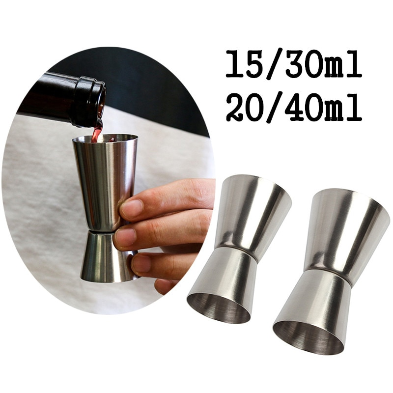 15/30ml or 20/40ml Stainless Steel Cocktail Shaker Measure Cup Dual Shot Drink Spirit Measure Jigger Kitchen Gadgets