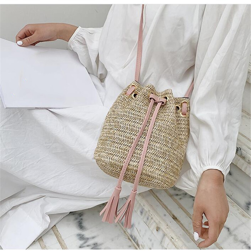 dusun summer bucket bag hand woven hollow out mesh shoulder handbag shopping bag vintage knitting large capacity women beach bag Drawstring Women's Straw Bucket Bag Summer Woven Shoulder Bags Shopping Purse Beach Handbag Straw Handbags Travel Bag