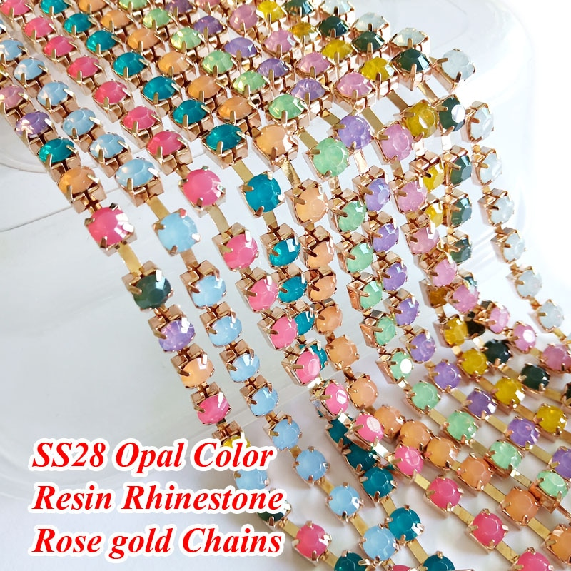 SS28, cadenas de diamantes de imitación de ópalo de resina, cadena rosa dorada en miniatura, mezcla de colores de ópalo para DIY, accesorios para vestido
