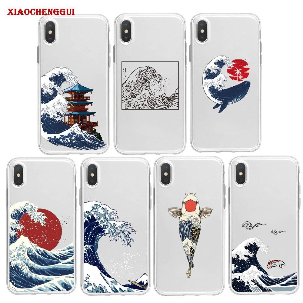 La gran onda de Kanagawa funda de teléfono para Samsung A10 A20/30 A40 A50 A60 A70 A80 S8 S9 PLUS cubierta japonesa mar ola océano