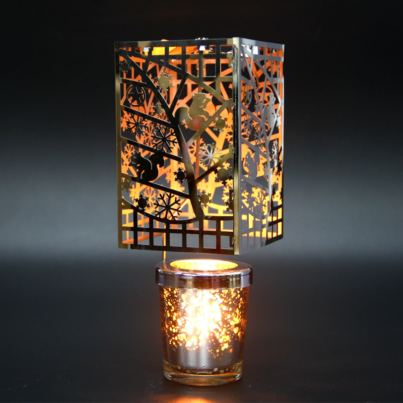 Candelabro giratorio de Navidad, portavelas de Metal de vidrio nórdico, romántico, decoración...
