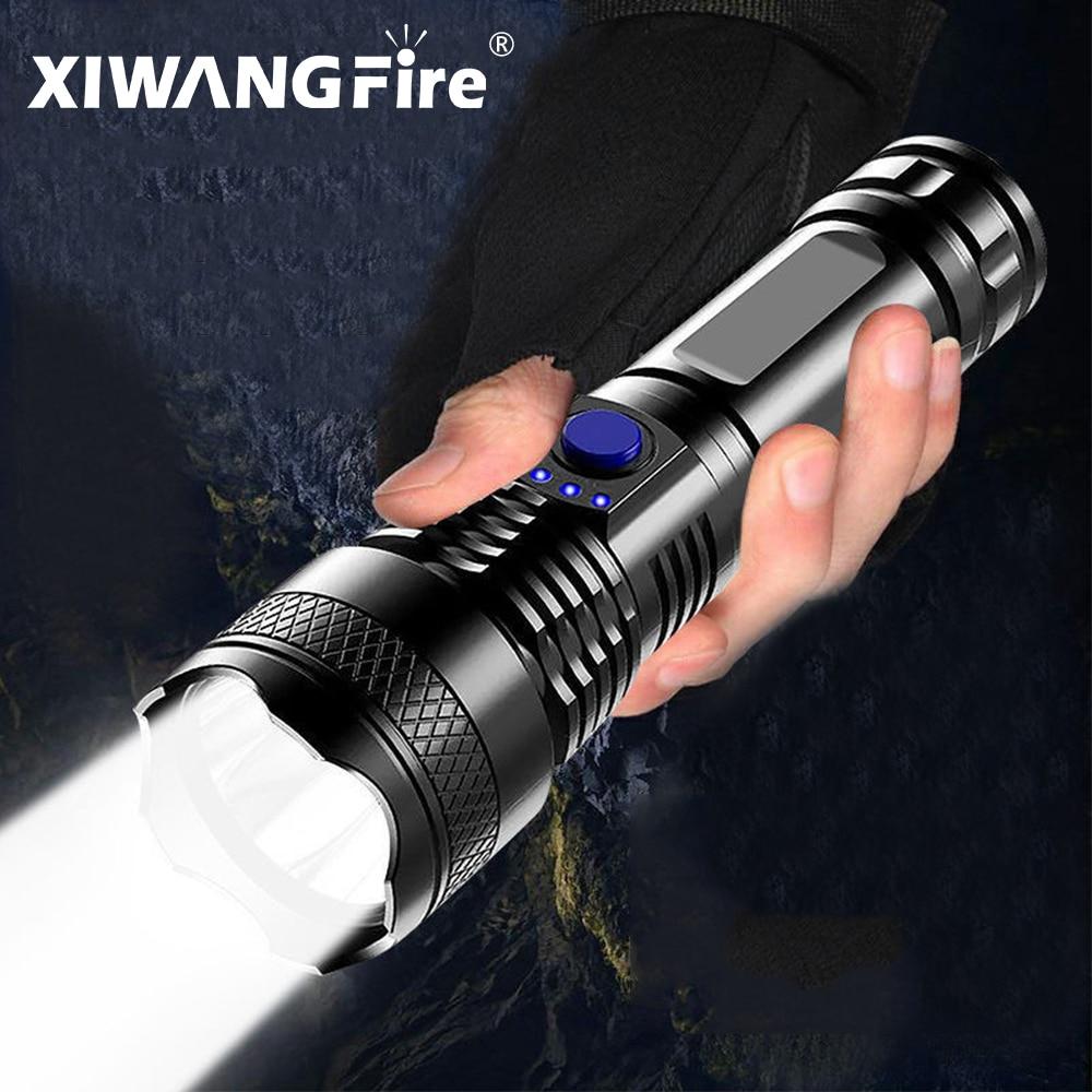 Сильный светильник вспышки светильник Портативный USB Перезаряжаемые ABS Материал яркий светодиодный светильник бытовой светодиодный светильник встроенный Батарея с Мощность Дисплей Фонарики и осветительные приборы      АлиЭкспресс