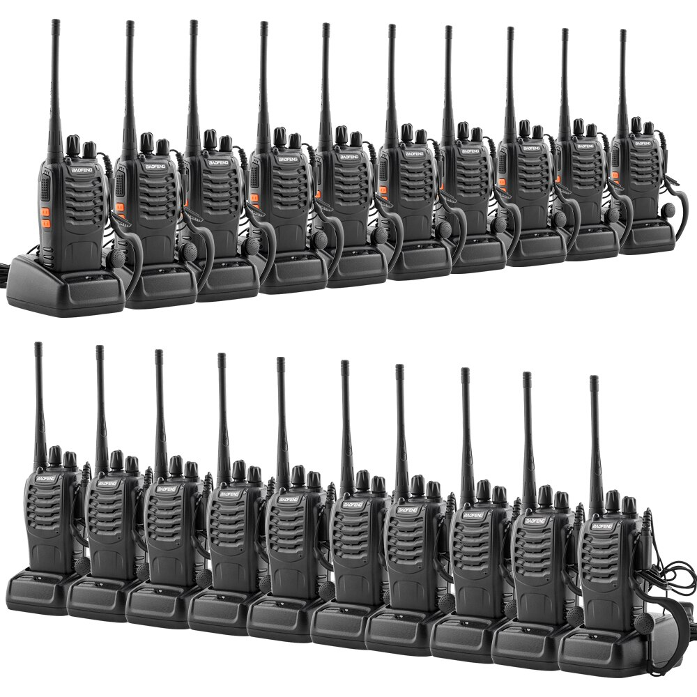 US Stock 10 Pairs Upgraded Version Of 5W Baofeng BF-888S Handheld Walkie-talkie 1500mAh Battery with Earphones Ship From US