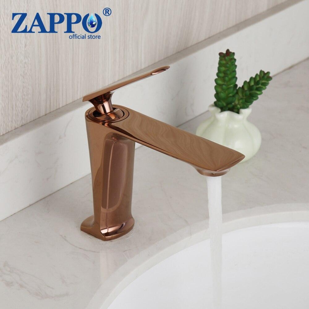 ZAPPO ارتفع الذهبي الحمام صنبور حوض غسيل صنبور مصرف البخار صنبور سطح الخيالة الصلبة النحاس الوردي الذهبي صنبور حوض خلاط الحنفيات
