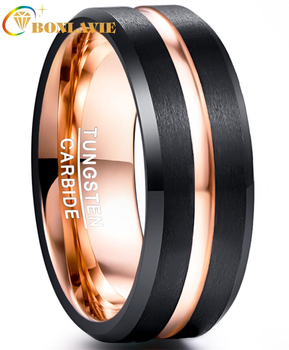 BONLAVIE anillo de hombre de 8MM de ancho carburo de tungsteno negro electroplateado oro rosa superficie mate con anillo de acero de tungsteno de ángulo ranurado