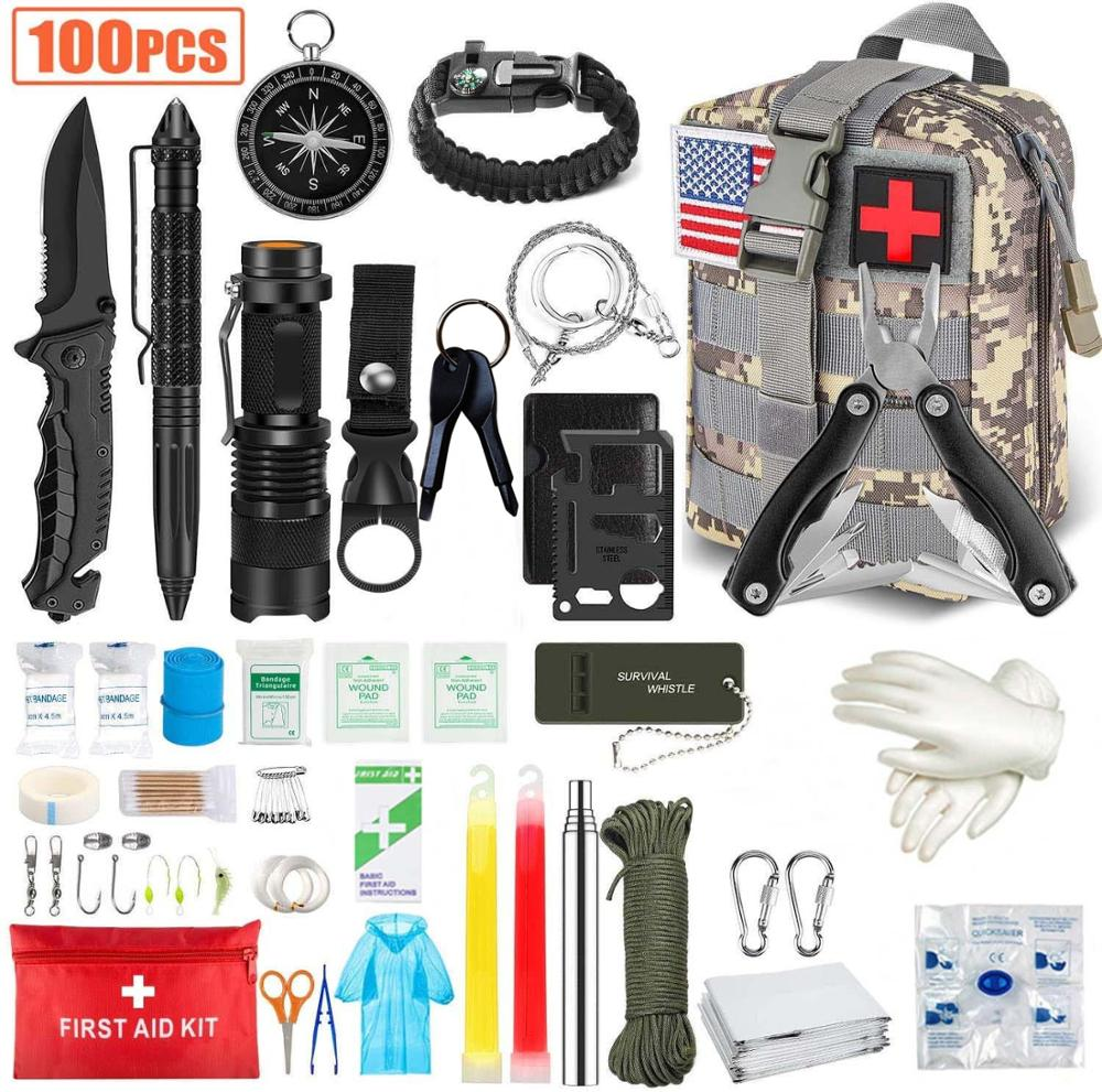 100PCS Emergency Survival Kit and First Aid Kit, Professional Survival Gear Hunting Tool with Tactic