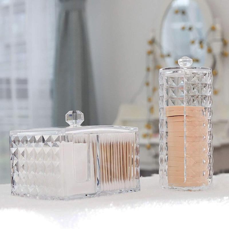 Cotton Storage Box Makeup Organizer Transparent Diamond Pattern Plastic Box Acrylic Bathroom Accessories Cotton Swabs Dustproof