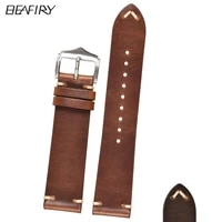 beafiry oil tanned leather 18mm 20mm 22mm watch band genuine leather watch straps for samsung huawei light brown dark brown belt