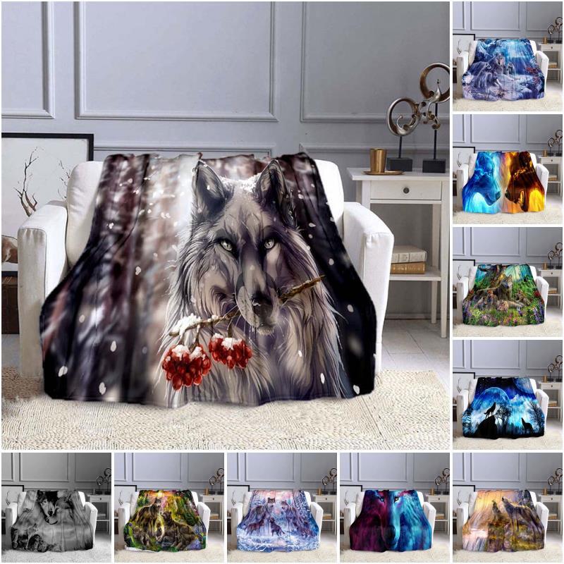 الذئب ثلاثية الأبعاد طباعة بطانية أريكة البطانيات للأسرة دافئ فائق النعومة غطاء بطانية الفانيلا رمي بطانية الفانيلا بطانية
