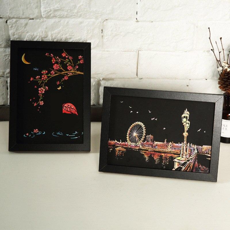 Детские Волшебные царапины картины DIY игрушки животные замок рисунки игрушки для детей обучающая игрушка Искусство и ремесла для детей